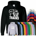 Mens Boys Girls Unisex ASDF I Like Trains Hoodies Hooded Pullover Hoody All Size