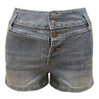 NEW WOMENS DENIM WASHED HIGH WAISTED 4 BUTTON HOT PANTS LADIES SHORTS SIZE 8-14