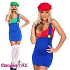 Ladies Super Mario Luigi Brothers Plumber Fancy Dress Up Party Costume + gloves