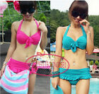 Sexy Push Up Bow Turquoise Bikini Skirtini Set Swimsuit Bademode GW321