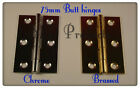 "3"" / 75mm fix pin door butt hinges chrome or brass plated"