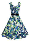 Ladies 40's 50's Vintage Style Blue Margarita Full Circle Rockabilly Dress 8-18