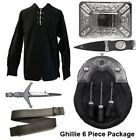 Mens 6 Piece Black Ghillie Shirt Package with Black Calfskin Full Dress Sporran