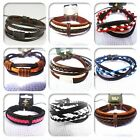 Fashion Men's Women's Leather Braided Hemp Surfer Belt Bracelet Wristband Cool