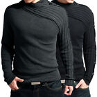 Unique Designed Winter Men's Knit Sweater Warm Knitwear Jumper Black/Grey XS~L