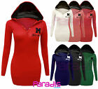 LADIES MISS SEXY PLAIN HOODIE JUMPER WOMENS TOPS HOODED SWEATSHIRT UK SIZES 8-14