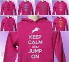 Pink Hoodie KEEP CALM and JUMP ON Horse Riding girls womens Pony Ride hoody