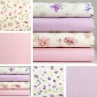 4 Fat Quarters or 1 Yard 100% Cotton Fabric Pink Lilac Dot Floral Sewing M-071