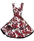 Vintage Style English Rose Lace Up Tiered Rockabillly Party Prom Dress New 8-18