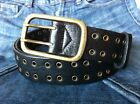 TWO ROW HOLE BLACK GENUINE LEATHER WOMENS MENS CASUAL JEAN BELT Size available
