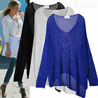 AnnaKastle New Womens Scoop Neck Asymmetric Hem Loose Open-Knit Pullover Size SM