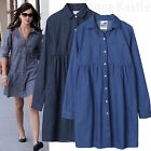 AnnaKastle New Womens Gathered Empire Waist Denim Shirtdress Long Shirt Size SM