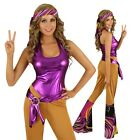 Adult 70s Retro Disco Girl Costume 1970s Decade Fashion Fancy Dress Party Outfit