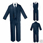 New Boy Baby Toddler Teen Formal Wedding Party Navy 5pc Suit Tuxedo Tie Set S-20