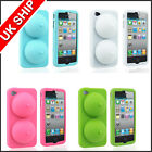 New 3D Breast Soft Rubber Silicone Case Cover Skin Stand for iphone 4 4S 4G New