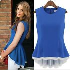 Women's Sleeveless Collarless Fake Two Chiffon Blouse Top Vest Shirts,Popular