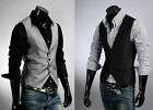 Men's Top Designed Casual Slim Fit Skinny dress vest Waistcoat 2coulours New V05