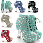 NEW WOMENS ANKLE BOOTS LADIES LACE UP CONCEALED PLATFORM BLOCK HEEL SHOES SIZE