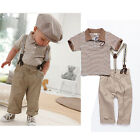 Baby Toddler Boy Clothes Strips Tops+Pants+Braces 3Pcs Gentleman Outfit Set 0-5Y