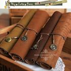 Vintage Leather Pirates Map Engraved Pencil Roll Up Case ~ DBrown Camel Olive