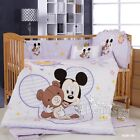 Kids Baby Nursery Bedding Set Crib Cot Quilt Set New Cot Bumper Mickey Mouse New