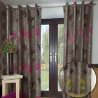 MODERN FLORAL DESIGN LINED EYELET BROWN JACQUARD CURTAINS GREEN PINK PURPLE