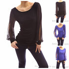Round Scoop Neck Slit Chiffon Bishop Long Sleeve Casual Party Blouse Top