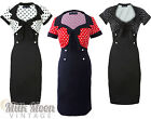 Vintage Dress 1950s 1960s Bodycon Wiggle Sleeve Black Polka Dot Size UK 8 - 26