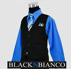 Boys Suits Pinstripe Vest in Black with Blue Shirt and Tie Outfit Set Size 2T-14