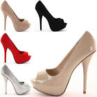 Peeptoe Party Platform Wedding Bridal Court Shoes Pumps Stiletto High Heels Size