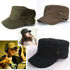 Unisex Adjustable Classic Cool Army Cadet Military Flat Top Hat Cap Black New