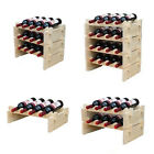 4-28 Bottle Stackable  Wooden  Wine Rack Drinks Holder Storage Shelves Display