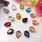 5pcs 13x18mm Teardrop Color Beveled Glass Sewing Rhinestones Crystal Decoration