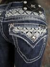 NWT MISS ME JEANS Boot Cut Cut-Out Yokes with Floral Stitch Patterns