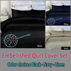 Crystal BLING Diamonte Embellished Quilt Cover Set - SINGLE DOUBLE QUEEN KING