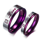 Women Men Silver Purple CZ Stainless Steel Wedding Engagement Ring Size 5-13