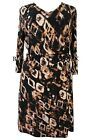 Ladies Animal Print Dress Brown Black Size 16