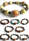 ETHNIC INSPIRED: TRIBAL WOMENS WOOD ACRYLIC SILVER BEAD STRETCH ELASTIC BRACELET