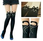Sexy Women Gipsy Mock Over Knee Tights Pant Tattoo Cat Legging Pantyhose Socks