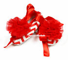Toddler Baby Hot Red White Wave Stripes Ribbon Crib Shoes Red Rosettes NB-18M