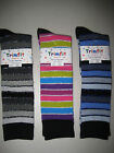 Sparkly Striped Long Knee Socks Metallic Fits Ages 4 and up Rainbow Silver