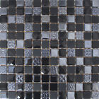 31.5x31.5cm Avalon Liquorice Glass Mosaic Tiles  (5 Sheets Or More)