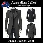 Mens Trench coats Sexy Slim Fit Stylish Casual Long Overcoat Jacket