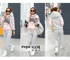 NWT woman thick hoody sweater winter autumn jacket outwear suits PINK&GRAY