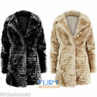Womens Coat Faux Fur Long Sleeve Ladies Collar Neck Button Warm Winter Jackets