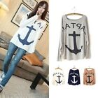 NEW Women's Loose Casual Batwing Sleeve Hook Anchor Patten T-Shirt Tops Blouse