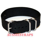 PREMIUM ZULU 3 Ring BLACK 20mm,22mm,24mm Military Divers NYLON watch strap band