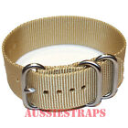PREMIUM ZULU 3 Ring SAND 20mm,22mm,24mm Military Divers NYLON watch strap band