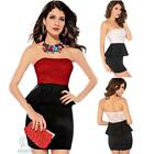 Sexy Lace Black Peplum Strapless Dress Casual Cocktail Party Club Wear Bodycon