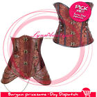 Brown boned lace up corset top steampunk style steel chain bustier top